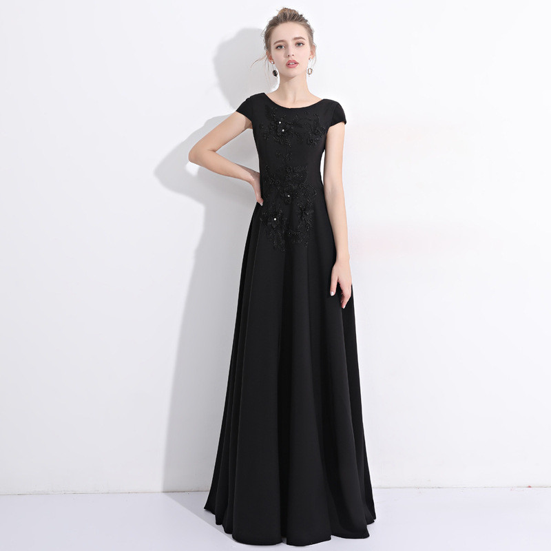 Cheap Long Prom Dress A Line Black Formal Party Dress Sale