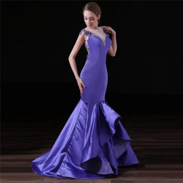 Evening Dresses For Women Blue Mermaid Plus Size Prom Dress