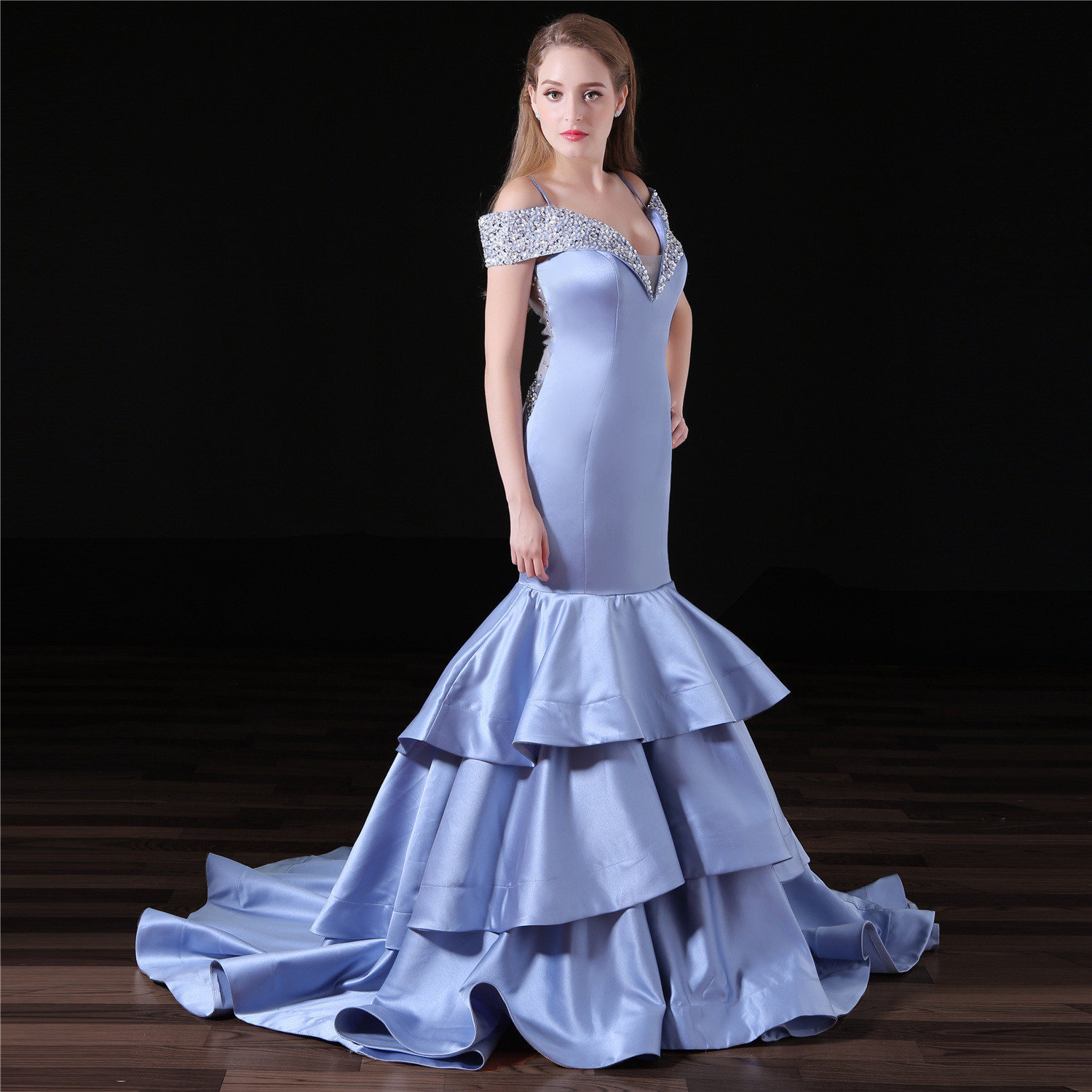 Mermaid Evening Gown Blue Off The Shoulder Prom Dress
