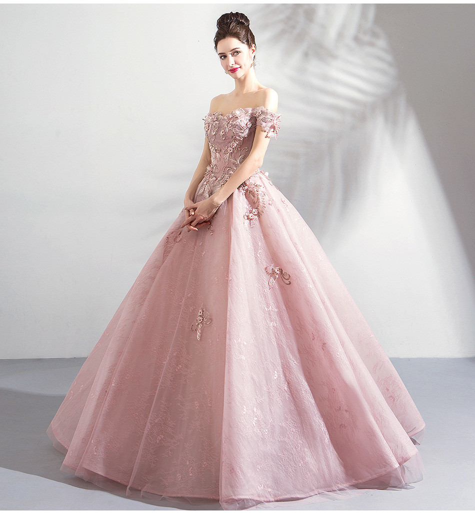 Pink Ball Gown Prom Dress Lace Flower Wedding Dress