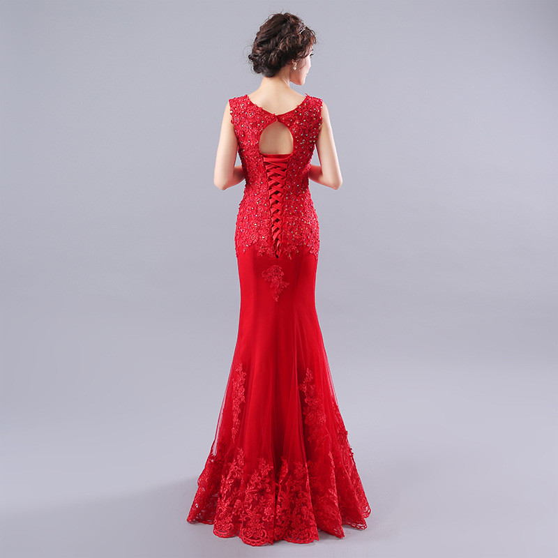 Red Long Evening Dress Affordable Plus Size Mermaid Prom Dress