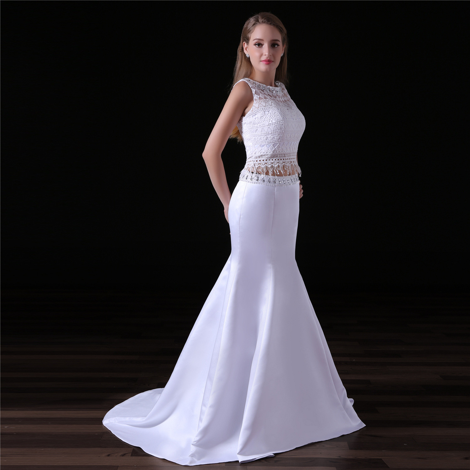 White Two Piece Prom Dress Formal Evening Dress Wholesale