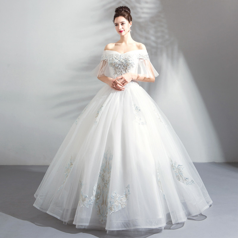 Princess Ball Gown Wedding Dress Luxury Crystal Bridal Dress