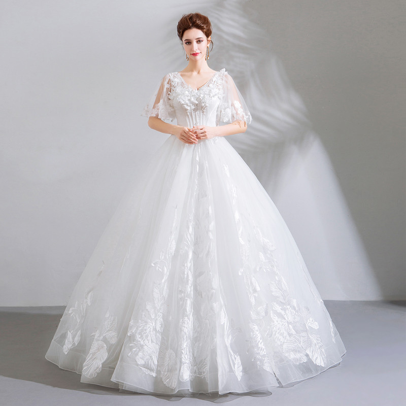 White Lace Wedding Dress Princess V Neck Ball Gown Bridal Dress