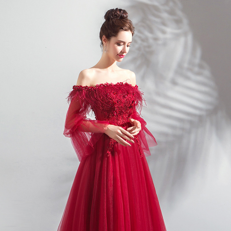Plus Size Prom Dress Red A Line Long Sleeve Evening Dress