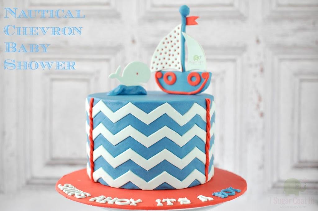Ships Ahoy Its A Boy Nautical Chevron Cake I Sugar Coat It
