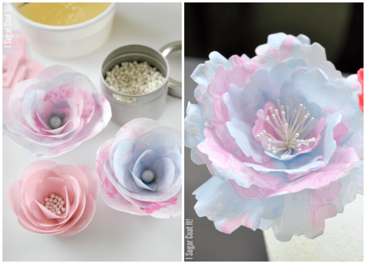 How to make wafer paper pinwheels i sugar coat it vintage wafer paper flowers mightylinksfo