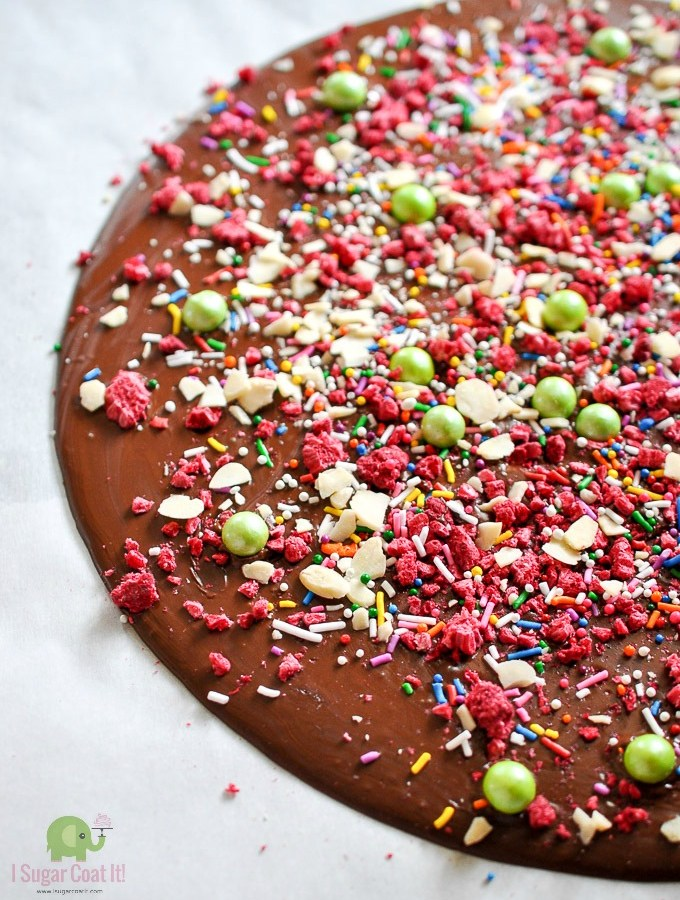 Raspberry Sprinkle Chocolate Bark {How To Dehydrate Berries}