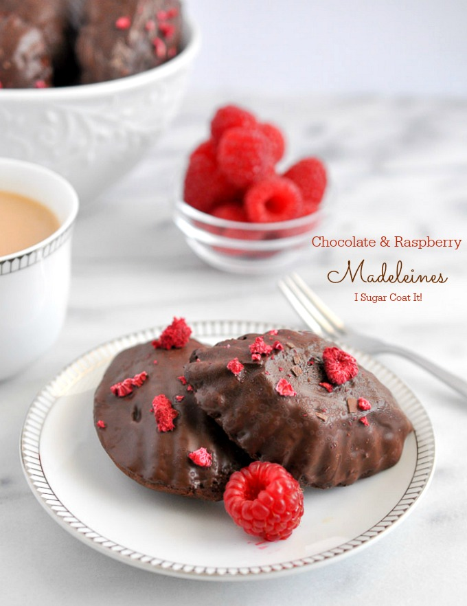 Brown Butter Chocolate Raspberry Madeleines