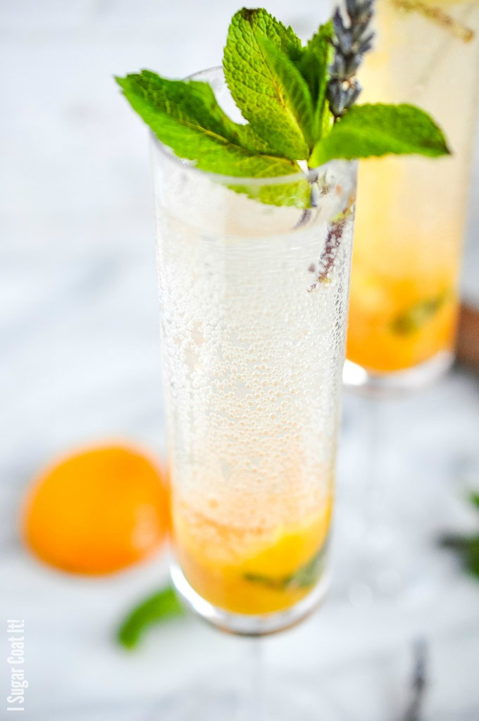 Honey Lavender Peach Mimosa with sous vide honey lavender poached peaches and champagne make a delightful addition to your end-of-summer brunch!