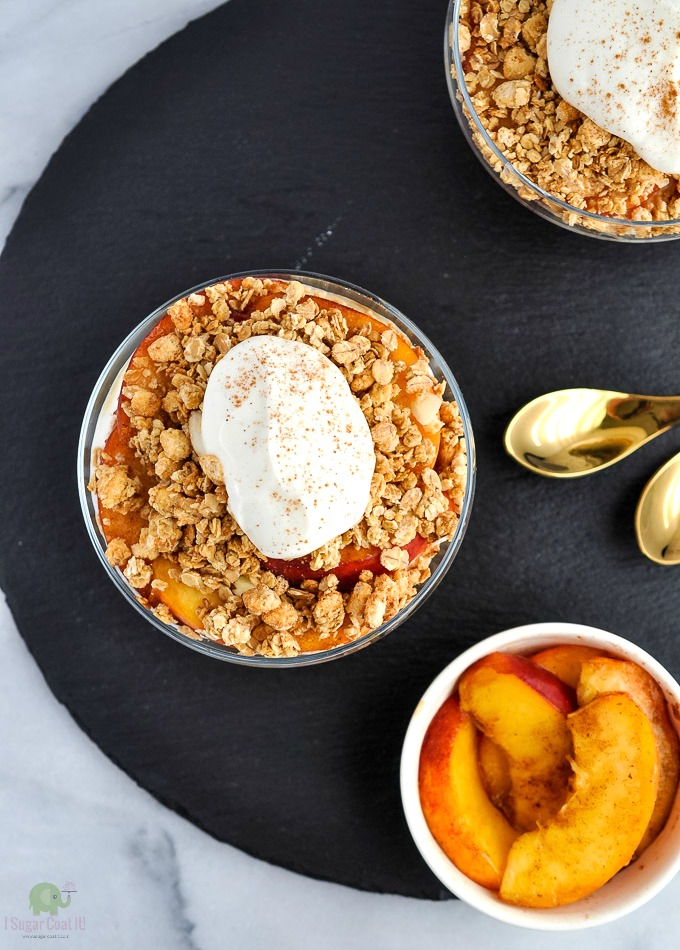 Say farewell to stone fruit season and summer with a Sous Vide Cinnamon Browned Butter Peach Trifle for breakfast or dessert.