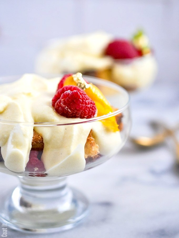 Sous Vide Zabaglione Lemon Cream Cake Trifle with delicate layers of champagne-spiked Italian cream, cake and fresh berries.