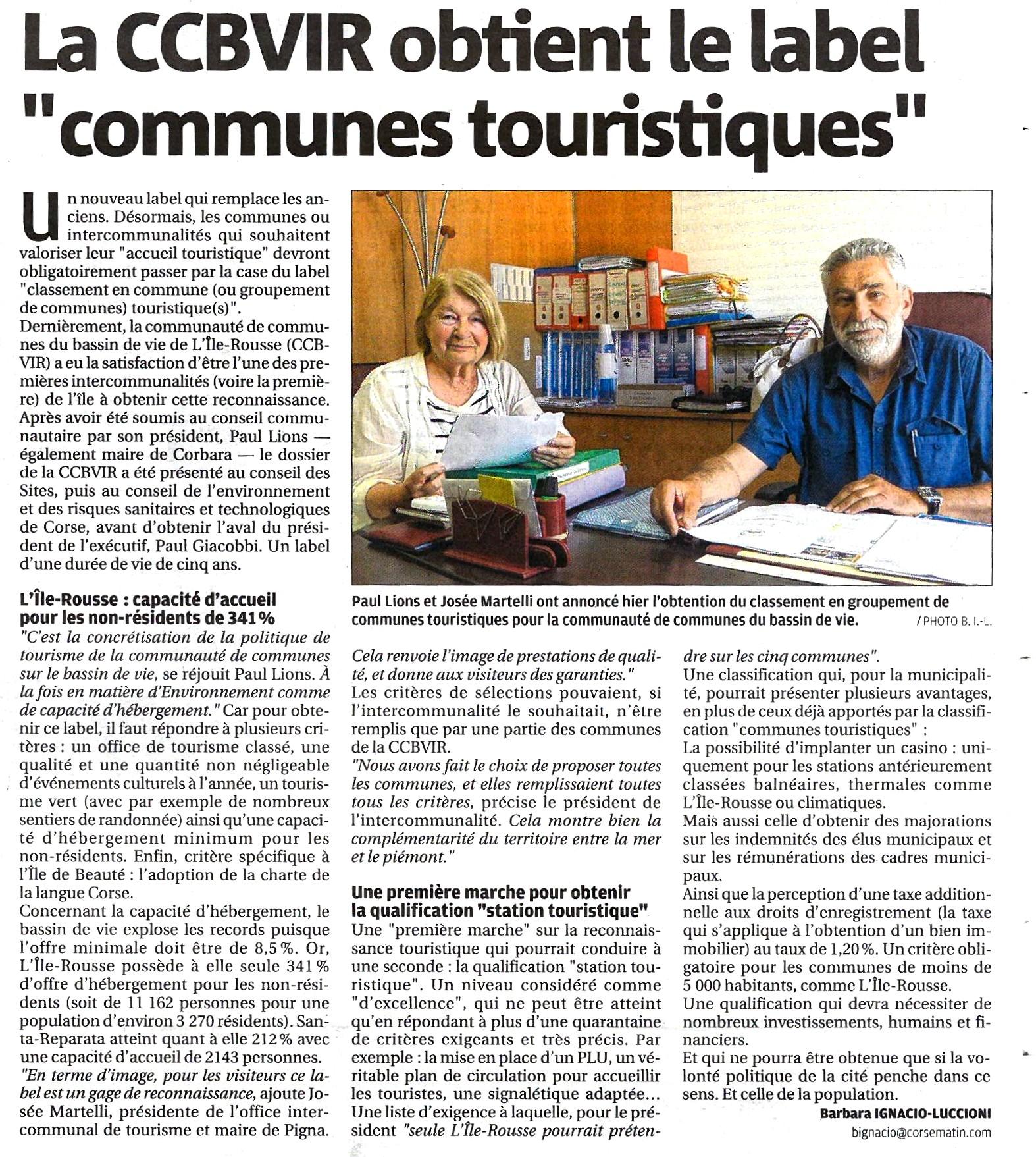 L Ile Rousse obtient le label de munes touristiques