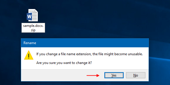 Change .docx  file name extension to .zip