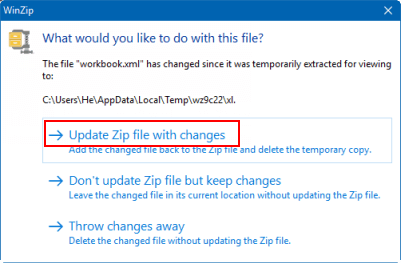 Update settings.xml in ZIP archive