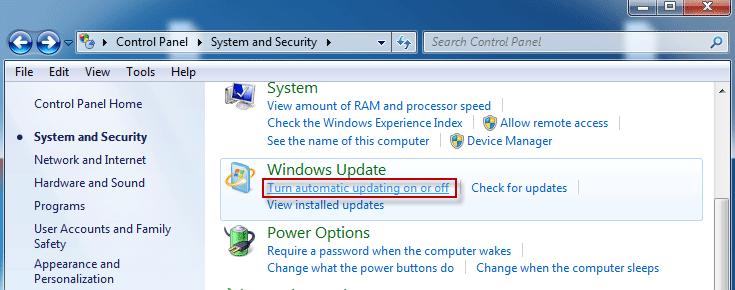 how do i turn off windows 7 automatic updates
