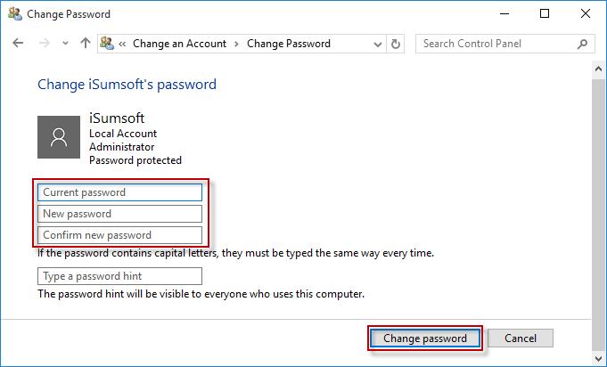 skip password hint windows 10