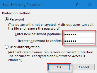 how to lock word document 2016 with password