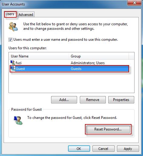 windows 10 guest user password