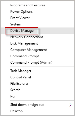 open device manager windows 10