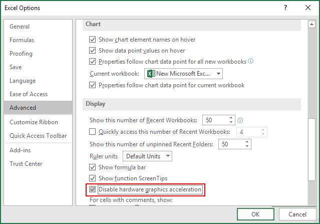 Deshabilitar la aceleración gráfica de hardware de Excel