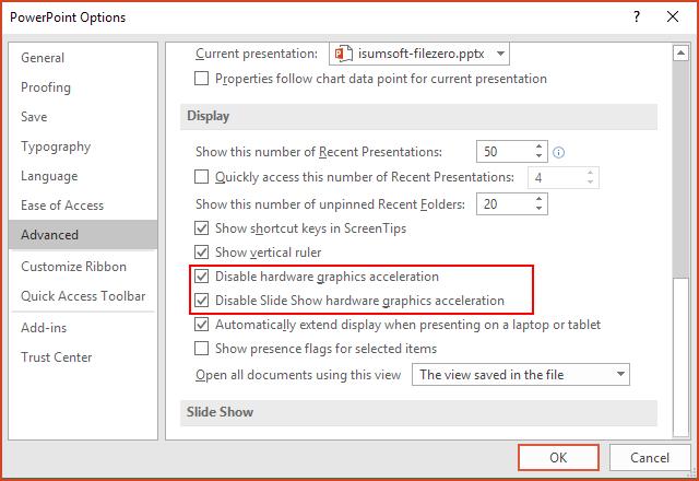 Deshabilitar la aceleración gráfica del hardware de la presentación de diapositivas