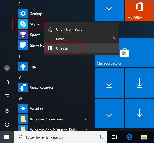 desinstalar la aplicación de Skype