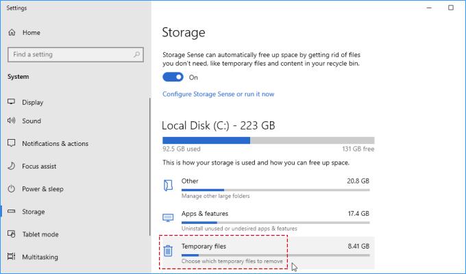 Elija qué archivos temporales eliminar