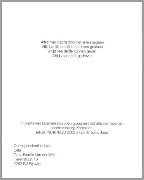 ISV Kameleon Rouwkaart Joep van der Wiel