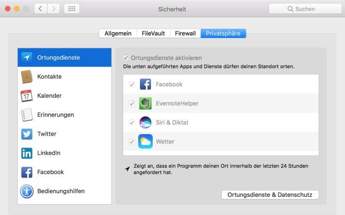 Privatsphäreneinstellungen auf dem Mac anpassen