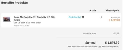 Macbook Pro-Bestellung mit Touch Bar