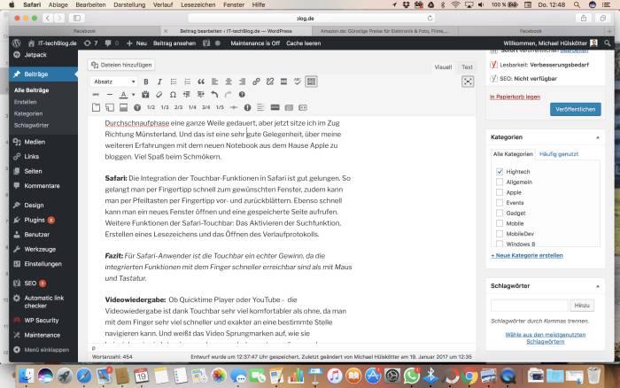 Touchbar-Integration in Safari 2