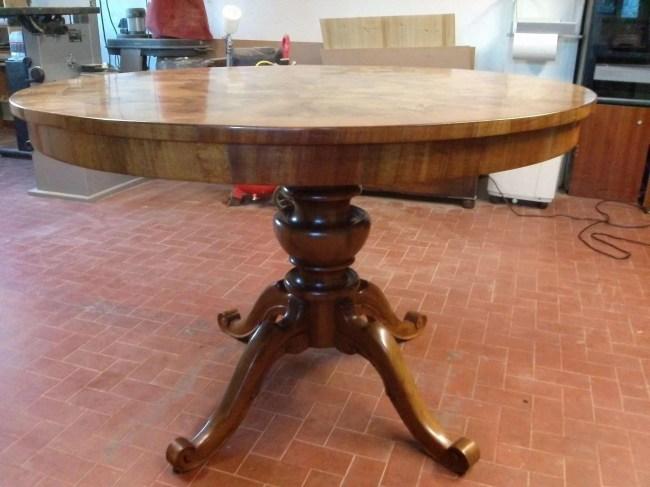 Restauro tavolo ovale Luigi Filippo