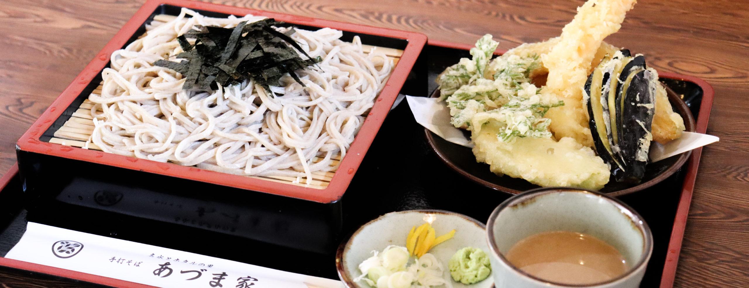 日本名水百選の箱島遊水で打った自家製そばが人気。手打ちそばとうどんのあづま家     もつ煮やカレーも人気 群馬県 吾妻郡 東吾妻町