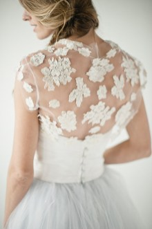 Wedding Dress with lace bolero on tulle,flower bolero