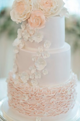 Wedding Cake - Beautiful simple + elegant outdoor wedding under the Chateau in the garden | itakeyou.co.uk - garden wedding ,outdoor wedding ,blush wedding