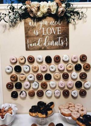 25 Wedding Donuts - a fun alternative wedding dessert Ideas - Donut wall