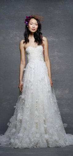 spring wedding gown, a line wedding dress, strapless wedding dress