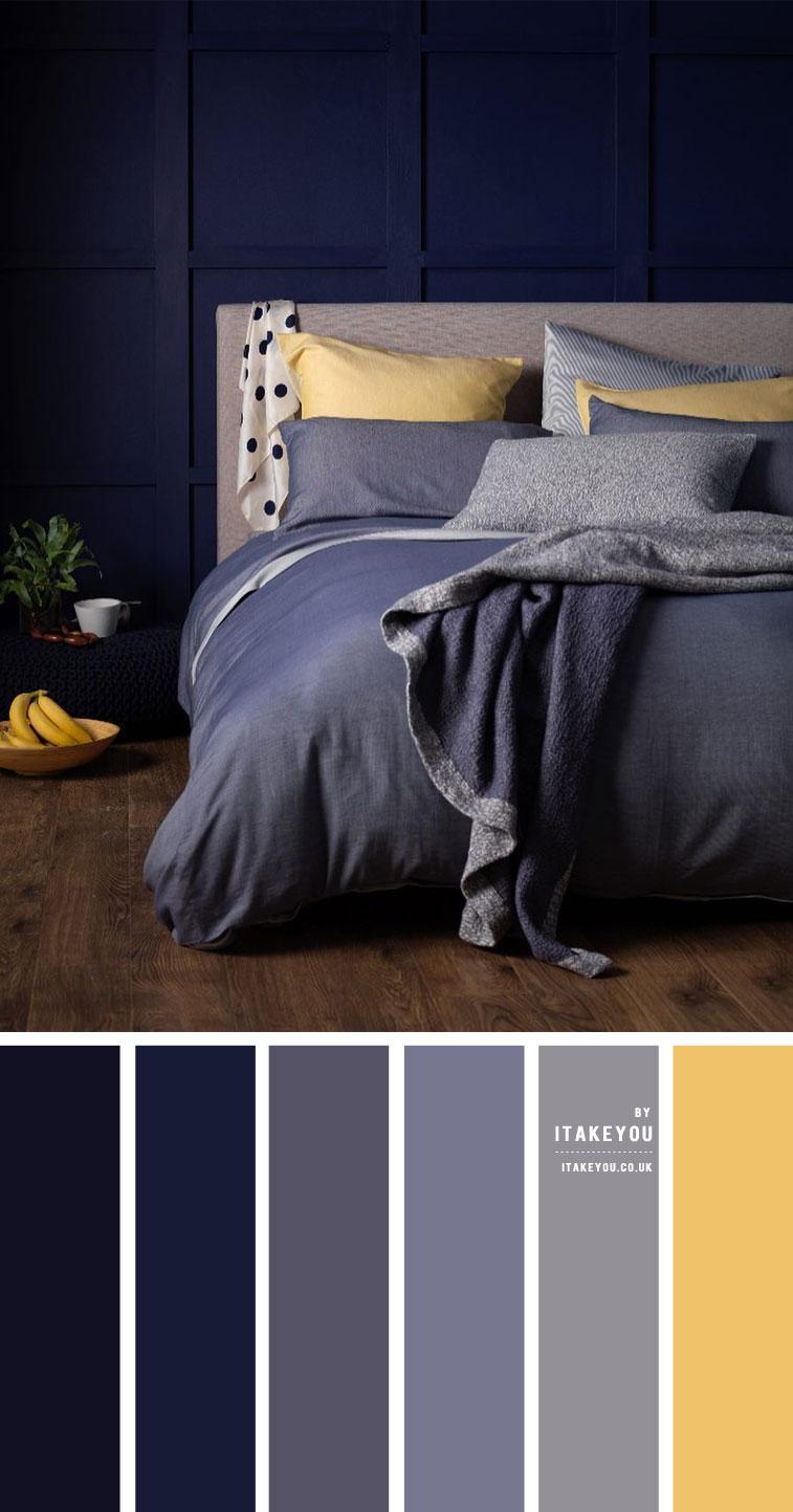 Dark Blue Grey And Yellow Bedroom Unexpected Bedroom Colours 1 I Take You Wedding Readings Wedding Ideas Wedding Dresses Wedding Theme