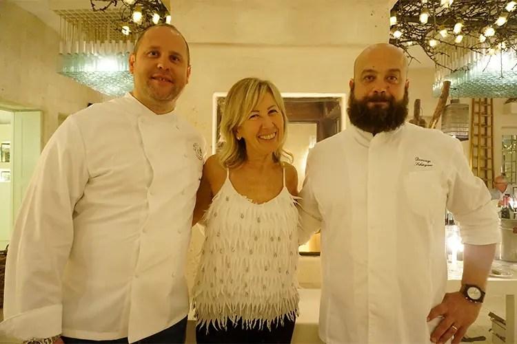Marco Bottega, Anna Abbona (titolare Marchesi di Barolo) e Domingo Schingaro - Bottega e Schingaro, duetto in cucina alla seconda cena firmata Euro-Toques