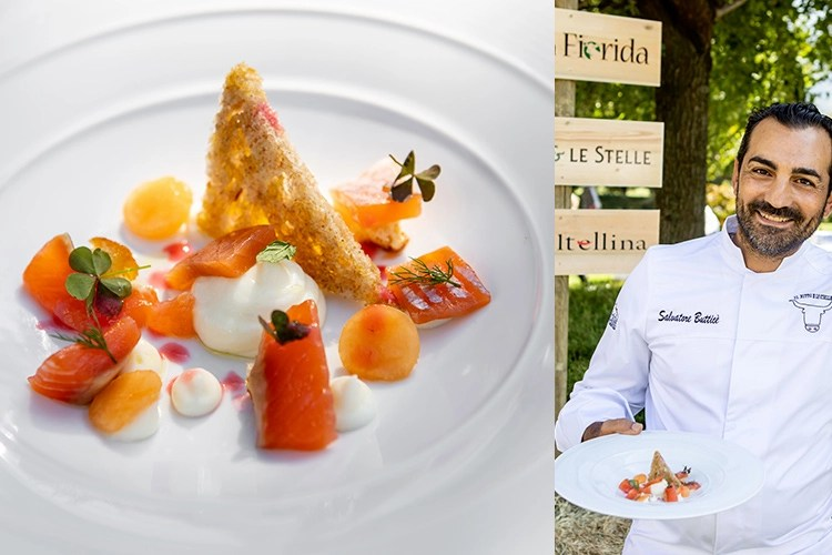 Trota del Trentino, Bitto Dop, melone mantovano e olio extravergine del Garda - Salvatore Butticè (Una serata dedicata al Bitto 19 cuochi, 19 ricette ad hoc)