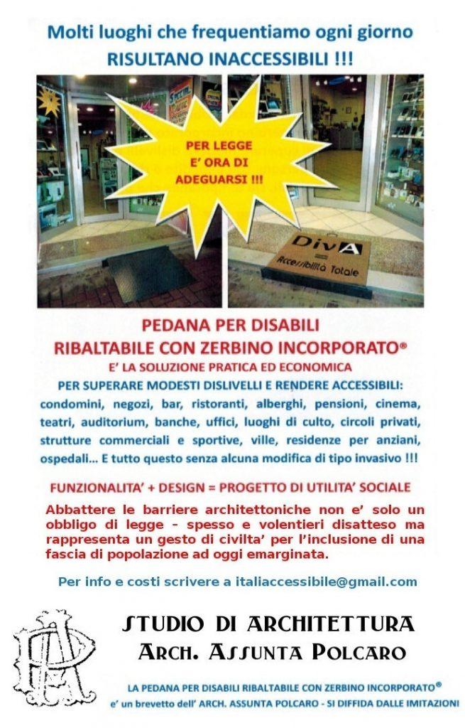 """pedana polcaro 655x1024 - ItaliAccessibile presenta la """"Pedana per Disabili Ribaltabile con zerbino incorporato"""" brevetto dell'Arch Polcaro."""