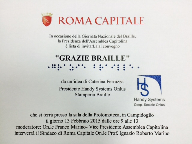 Per la Giornata Nazionale del Braille il 13 febbraio un convegno in Campidoglio