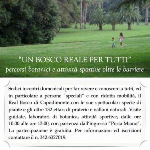 """locandina 300x300 - Autismo: A Capodimonte (Na) il progetto """"Un Bosco Reale per Tutti"""" un laboratorio botanico e palestra all'aperto"""