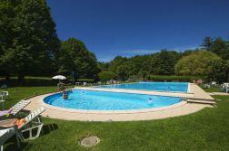 Groot zwembad met kinderbad en speel/zonneweide
