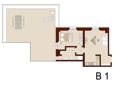 Plattegrond van appartement B1