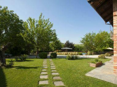De tuin van de B&B