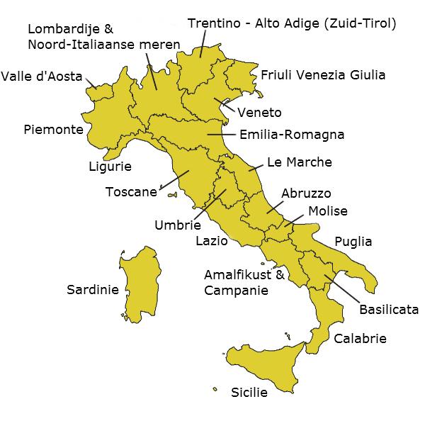 italie kaart regio's