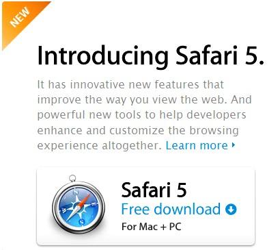 Safari5 001 Safari 5: Disponibile la nuova versione con motore JavaScript Nitro