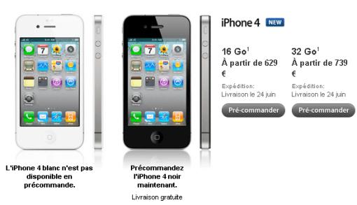 iPhone4 applestoreFR iPhone 4: In Francia i prezzi sono di 629 e 739 Euro, da noi il prezzo forse sarà più alto